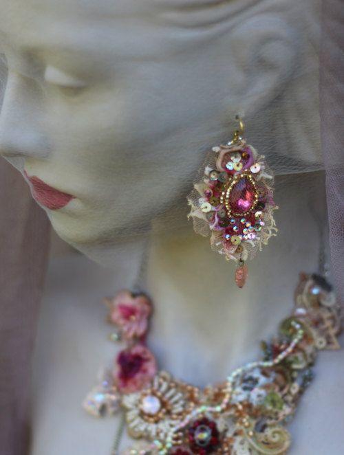 Baroque earrings asymmetric earrings shabby chic by FleursBoheme