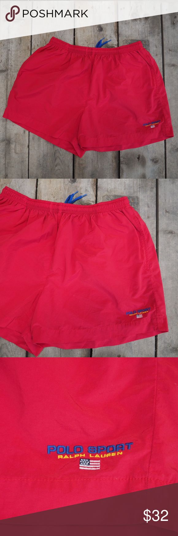 Vintage Polo Sport Ralph Lauren Shorts 90's vintage Polo Sport by Ralph Lauren mid thigh shorts/swim trunks. Size XL. Item is in excellent Pre-Owned vintage condition with no stains or tears. Please message with any questions. Thanks! Polo by Ralph Lauren Shorts