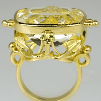 Brilliana 18ct cocktail ring with cushion cut lemon citrine & 6 blue diamonds by Sophie Harley London.