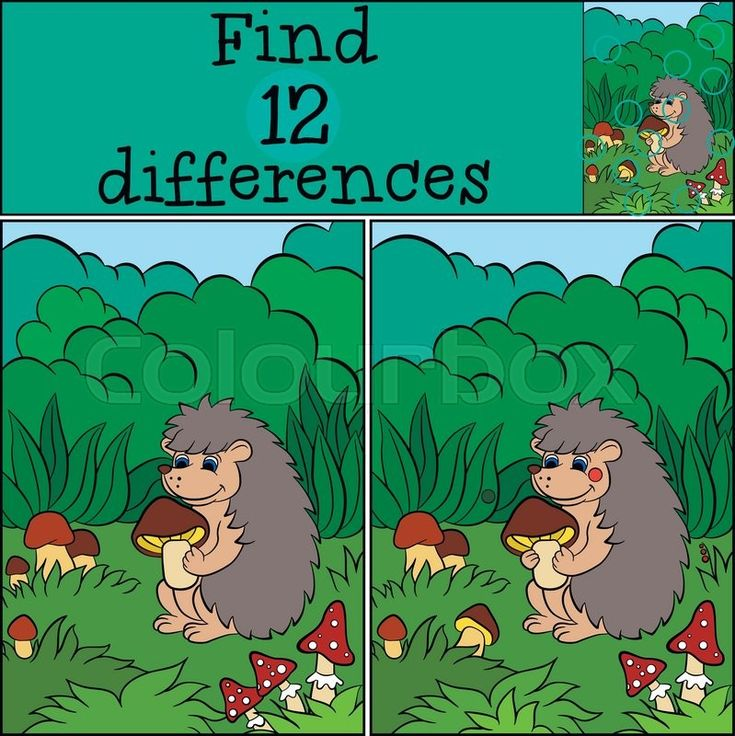 Stock vector of 'Children games: Find differences. Little cute hedgehog holds the mushroom in the hands.'