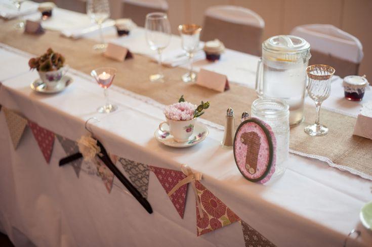 Zelf geplukte bloemen en zelf gemaakte tafel nummers #DIY Country Vintage DIY Fort Langley Wedding