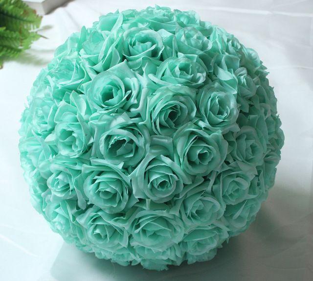 "10""(25cm)Hanging Decorative Flower Ball Centerpieces Silk Rose Wedding Kissing Balls Pomanders Mint Wedding Decoration Ball Wine"