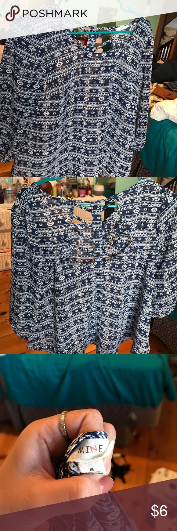 blue aztec long sleeve dress shirt // size small navy blue & white aztec patterned shirt- never worn after bought- perfect condition- size small Tops Blouses