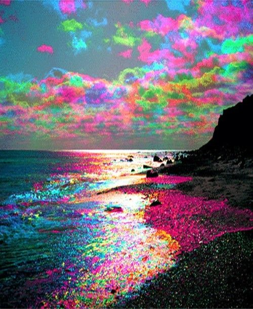 Quotes more psychedelic beach acrylic painting - Trippy nature wallpaper ...