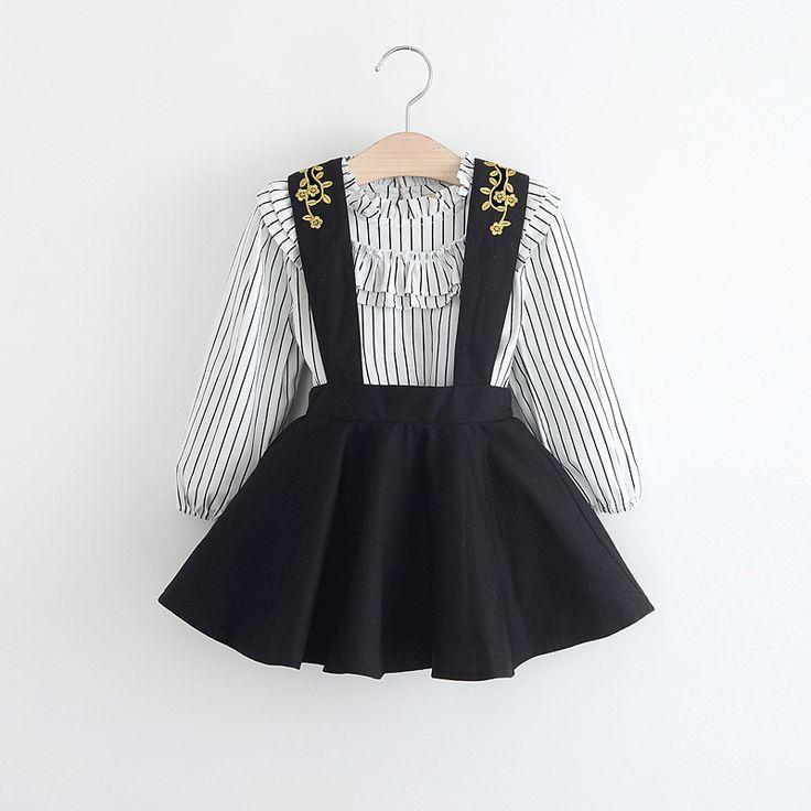 Alta qualidade 2017 primavera moda outono listrado vestido da menina roupas da menina das crianças vestido de princesa macacão + camisa 2 pcs 2-6 idades