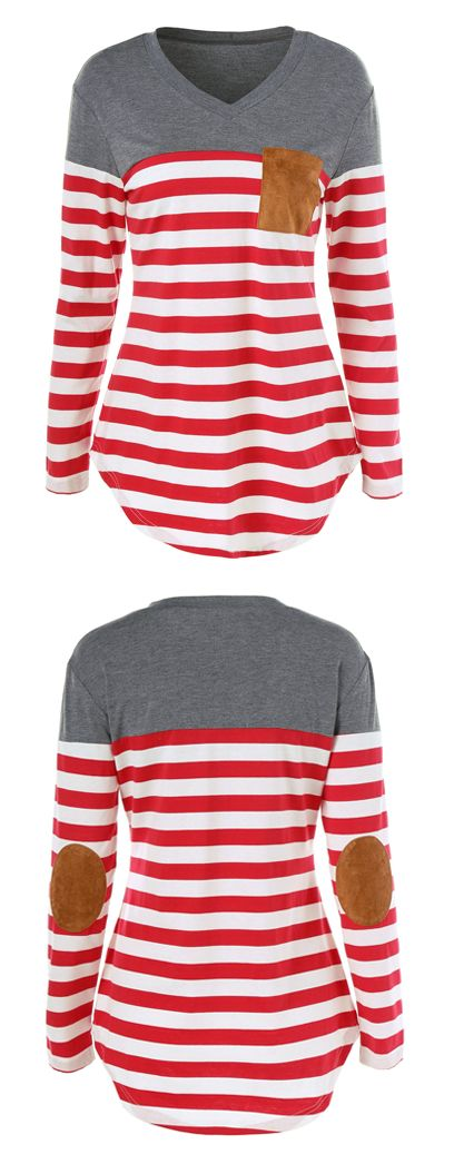 $8.30 Elbow Patch Striped Longline T-Shirt
