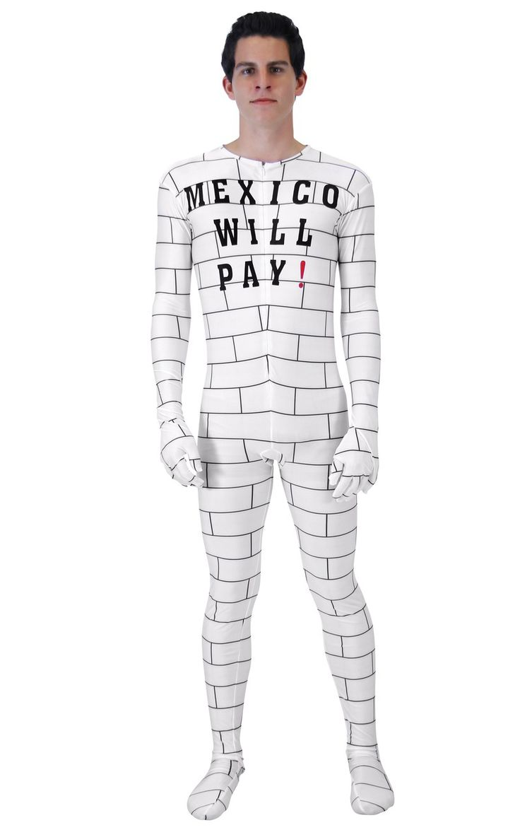 Make fun of The Donald this Halloween when you wear this Donal Trump Halloween costume.  We're nearly a year into Trump's presidency and there is barely a mention of the Wall that he plans to put up seperating the US and Mexico.  Why, because it was an insane idea.  Now you remind everyone you know just what insane times we're living in when you wear this Donald Trump Mexico Will Pay Halloween costume.