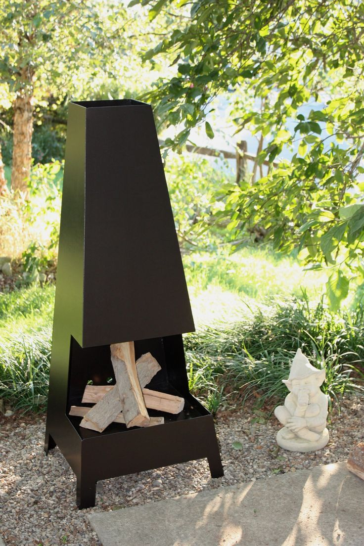 PYRA Chiminea is the perfect outdoor fireplace for the rustic or modern patio. Design: Ryan Welty AIA