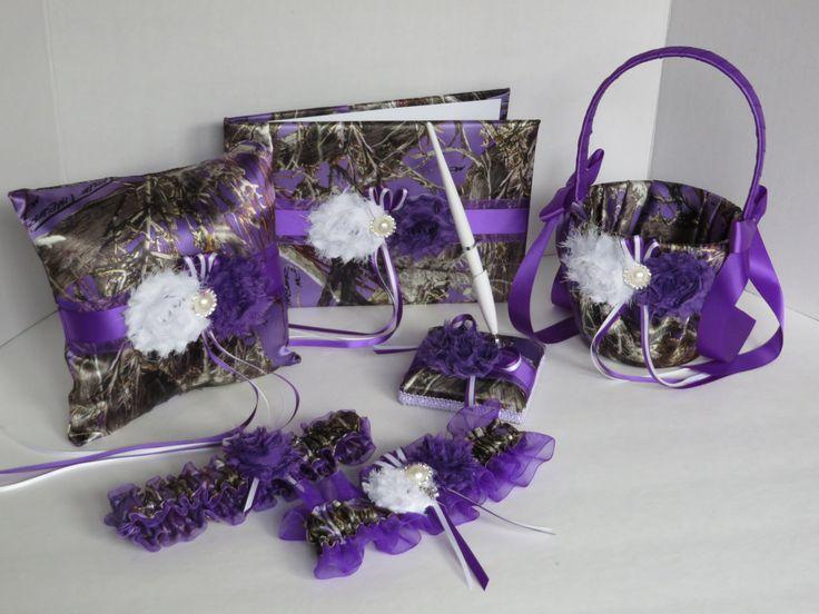 Camo Wedding Set, Wedding Flower Girl Basket, Wedding Pillow, Wedding Guest Book, Pen, Garter, True Timber Purple Mc2 Camo Wedding Set by TheMomentWeddingBout on Etsy https://www.etsy.com/listing/189238732/camo-wedding-set-wedding-flower-girl