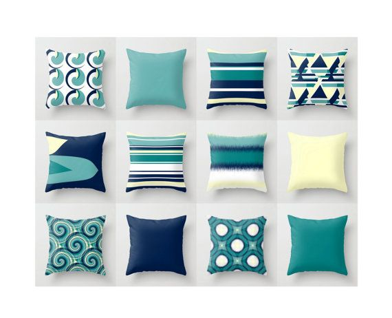 throw pillow navy yellow teal modern geometric by