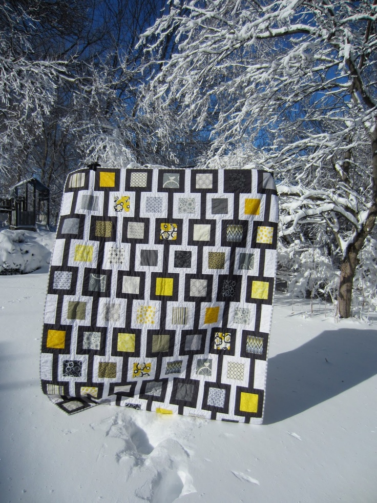 Quilt Story: Yellow and Gray Quilt from My Lift in Bindingblack, white, and yellow modern quilt.