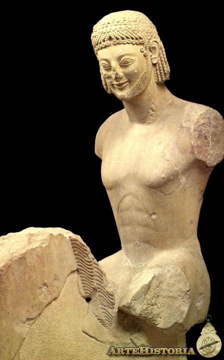 Jinete Rampin  La más antigua estatua ecuestre de Grecia representa a un personaje de alcurnia, como indica su aspecto distinguido, su peinado elegantísimo, la corona de hojas, la barba cuidada y el bigote, que iba pintado. Se ha pensado que pudiera ser uno de los hijos de Pisistrato. Es obra de un taller ático, -se piensa que la Kore del Peplo es de la misma mano- admirable por la calidad y la vitalidad del modelado. La cabeza original se guarda en el Louvre; el cuerpo del jinete y del…