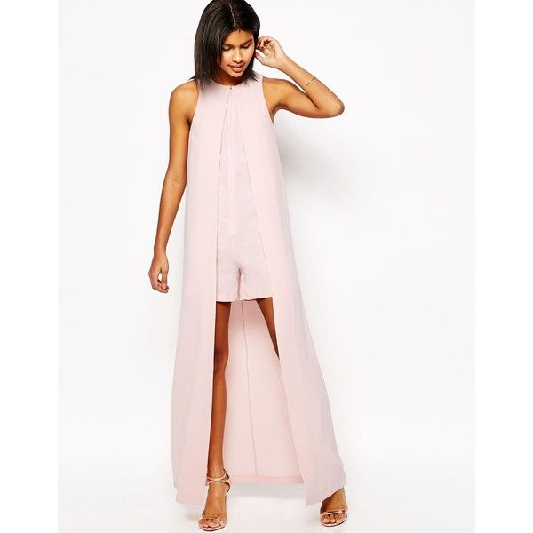 ASOS Occasion Playsuit with Maxi Cape Detail (1.894.185 VND) ❤ liked on Polyvore featuring jumpsuits, rompers, blush, asos rompers, pink romper, pink rompers, playsuit romper and asos romper