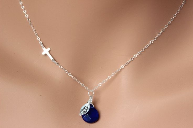 Personalized sideway cross necklace in sterling silver, gemstones, initial necklace, sterling silver necklace.Sideway Cross Necklace. by rainbowearring on Etsy https://www.etsy.com/listing/158874767/personalized-sideway-cross-necklace-in