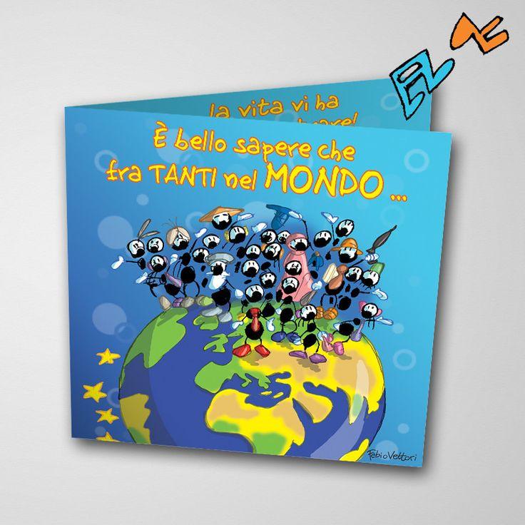 Biglietto musicale Anniversario (FV07-02) | Le Formiche di Fabio Vettori #formiche #fabiovettori #biglietto #auguri #musica #music #fun #regalo #gift #anniversario #mondo