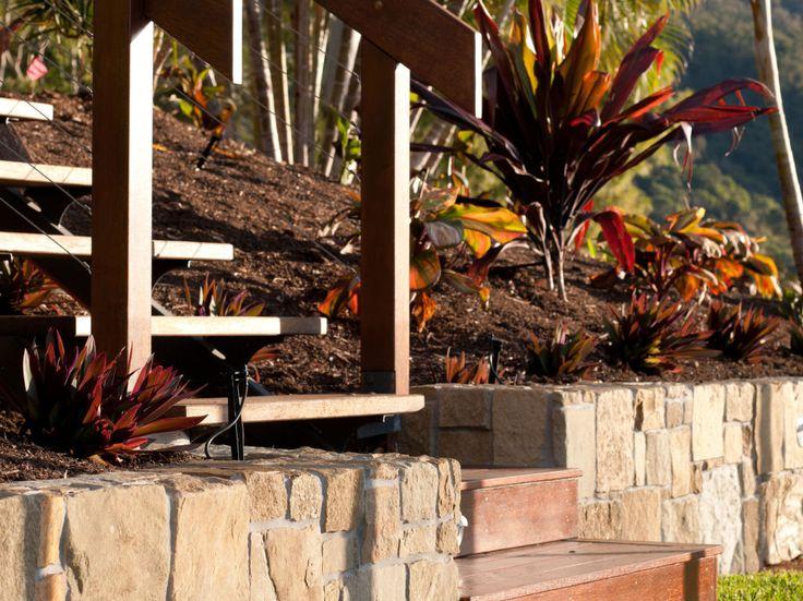 Eco Outdoor Clancy sandstone random ashlar walling.  Eco Outdoor | Utopia Landscapes | livelifeoutdoors | Outdoor design | Garden design | Outdoor paving | Outdoor design inspiration | Outdoor style | Outdoor ideas | Garden ideas | Luxury homes | Outdoor luxury | Natural stone flooring | Retaining wall | Stone veneer | Stone walling | Stone cladding | Pool ideas