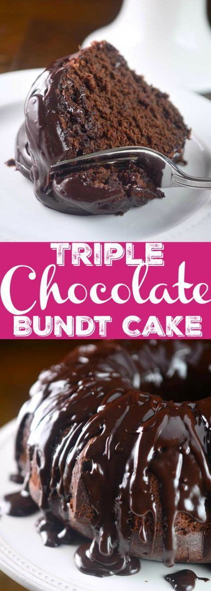 Chocolate cake studded with chocolate chips and drizzled with chocolate ganache. This Triple Chocolate Bundt cake is decadent, rich and luscious.
