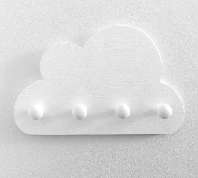 Weiteres - Kindergarderobe Wolke mit 4 Knöpfen, weiß - ein Designerstück von Musterladen bei DaWanda