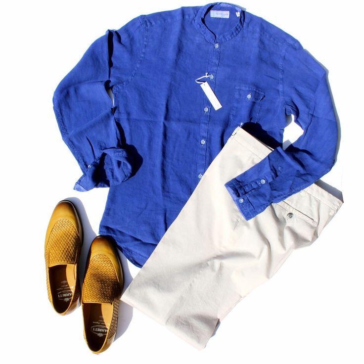 #メンズ #長袖 #カジュアルシャツ #イタリア #ポジャンティ― #POGGIANTI #麻シャツ #バンドカラー #ブルー #白パンツ
