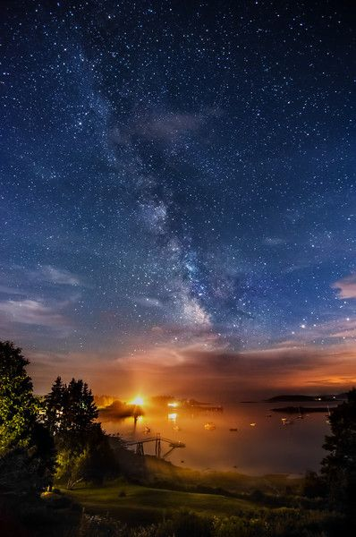 Landscape Astrophotography - miketaylorphoto.......................... thk:::::::::::::::::::The Milky Way rising above Pemaquid Harbor, Maine.