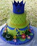 Image detail for -Vanilla cake and buttercream for a Princess and Frog Theme birthday party yesterday at Coral Reef Park, Miami, FL. Tiers are 9-inch and 6-inch. Decorations made of ...