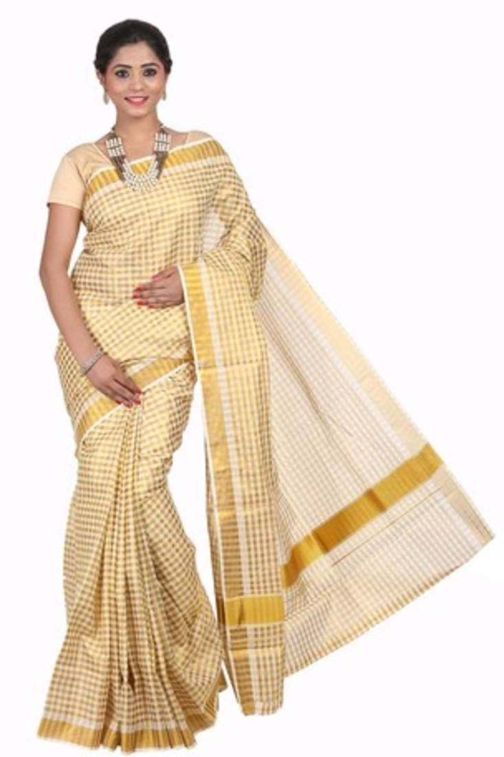 Buy Cream woven cotton saree with blouse at low rate