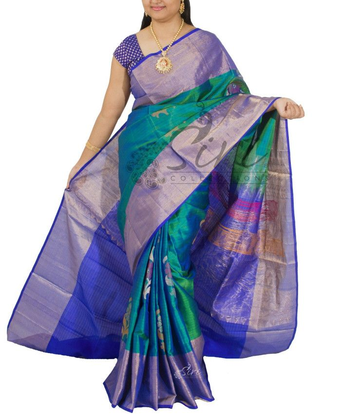 Pure uppada Silk Saree in Peacock Green Blue