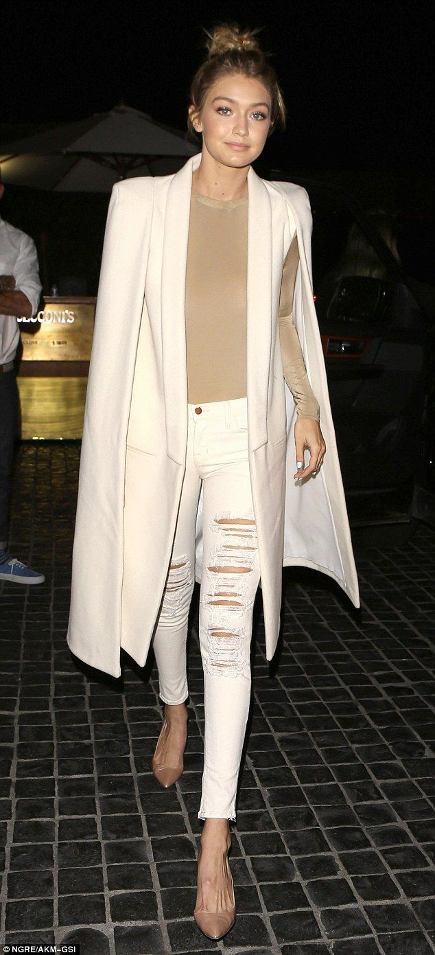 Looking good: Gigi Hadid arrived for dinner with Kris Jenner and the Kardashian clan at Cecconis in West Hollywood on Thursday, looking every fashionable inch a part of the family