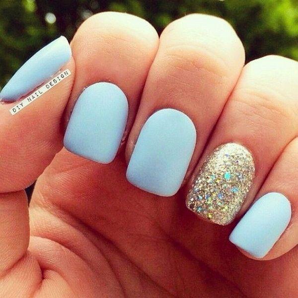 Baby Blue and Gold Glitter Matte Manicure Design.