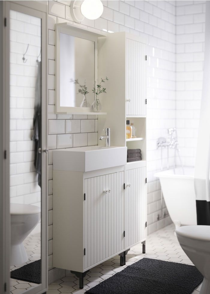 Good Small Bath Vanity A White Bathroom With Narrow Wash Basin Cabinet High