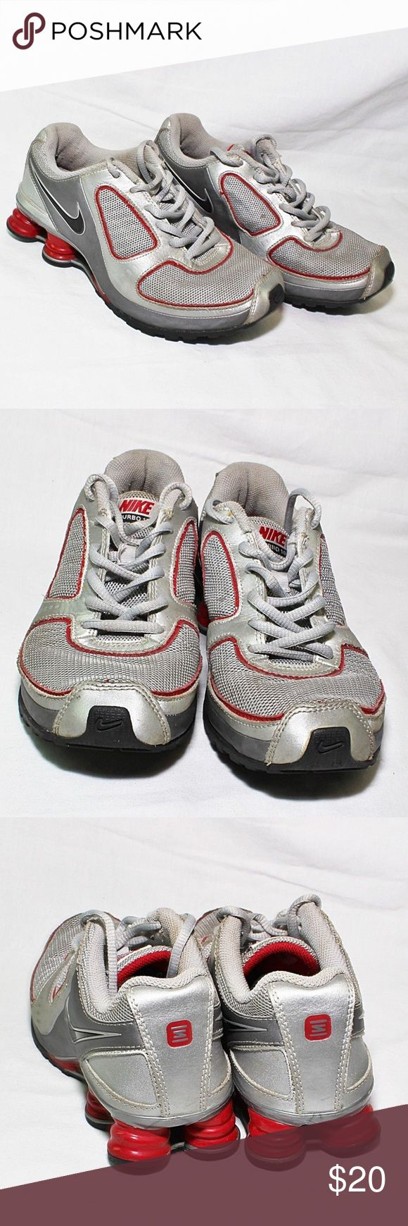 Nike Turbo 10 Sz 5 Youth Used Gray Red 386635-002 Description: Used, some scratches / scuff marks, some peels to fabric inside the shoes / around ankle area. Plenty of life left in these shoes. Grey / red in color. Size 5Y (youth) UK: 4.5 EUR: 37.5  Item #: 273072963464 Nike Shoes Sneakers