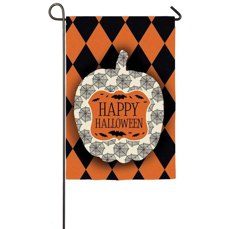 Happy Halloween Orange And Black Harlequin Pumpkin Garden Flag - Garden Flags - Flags - Garden & Patio