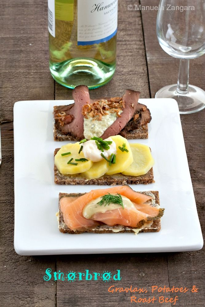 Smorrebrod - delicious #Scandinavian open #sandwiches made with buttered rye bread and topped with roast beef, gravlax or potatoes.