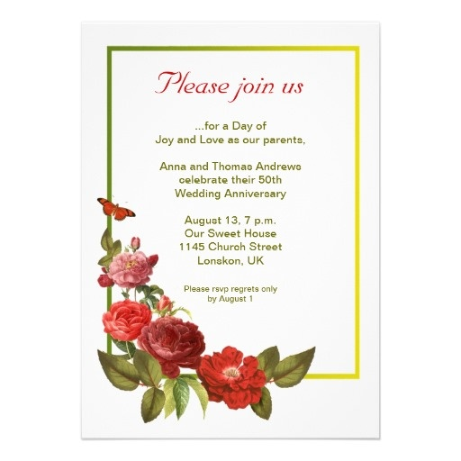 Wedding Anniversary Invitation With Vintage Retro Antique Or Victorian Style Red Roses And Colorful Frame I Suggest The Linen Felt Paper For This