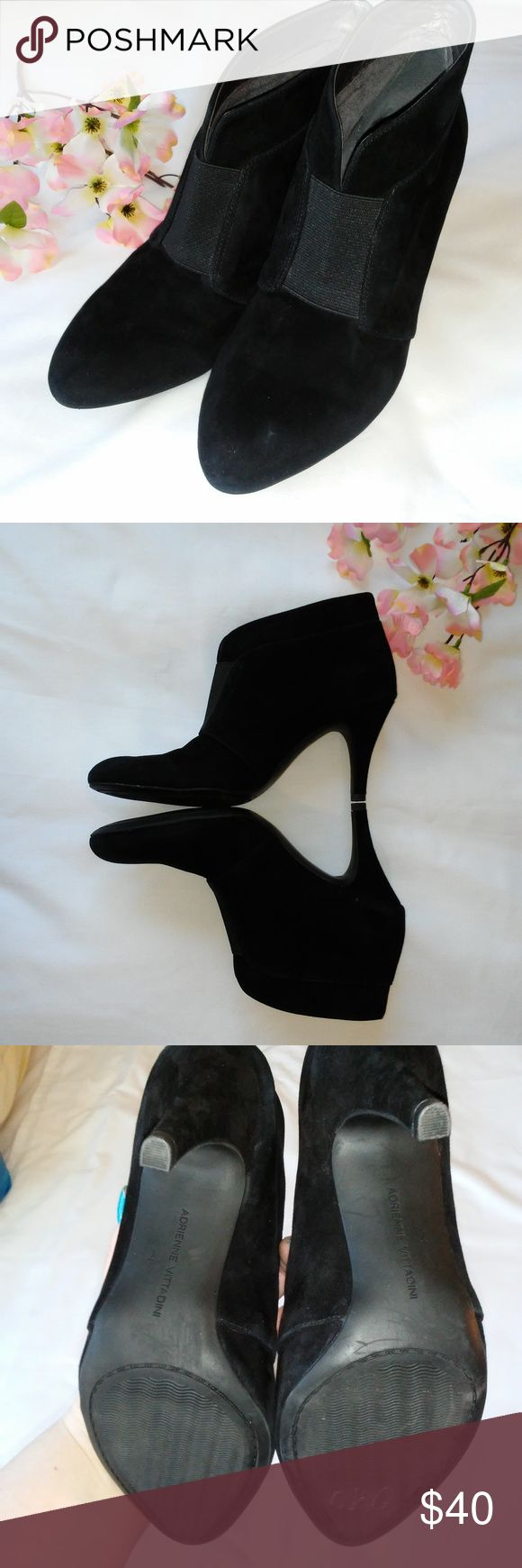 Adrienne Vittadini Trippin Suede Ankle Boot Size 7 Adrienne Vittadini trippin suede ankle boot size 7. Great condition. Leather upper and  man made balance. There are a few scuff shown in pictures but wont be noticeable while wearing them. Heel and sole in great condition. Adrienne Vittadini Shoes Heeled Boots
