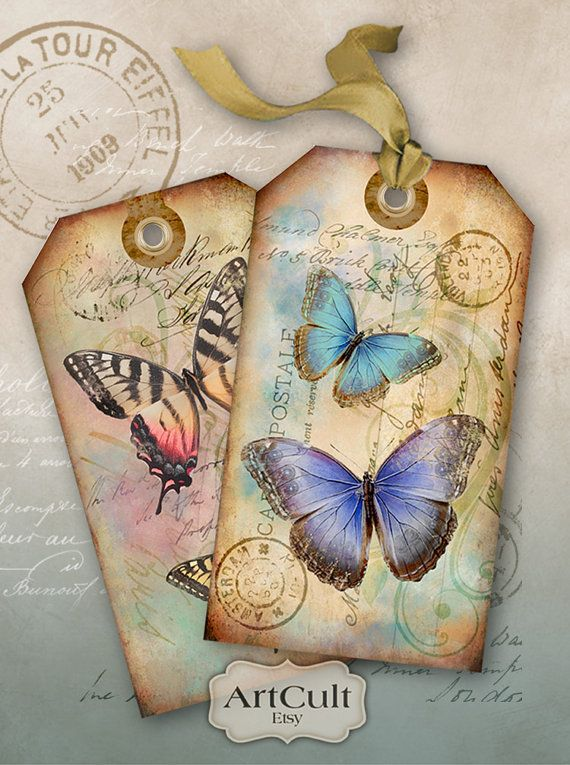 BUTTERFLIES - Gift Tags Digital Collage Sheet Printable Download Vintage Paper Craft you print Jewelry Holders Greeting Cards Scrapbook
