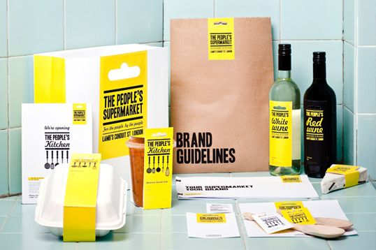 simple containers, yellow stripe and print elements are contributing to the  brand character