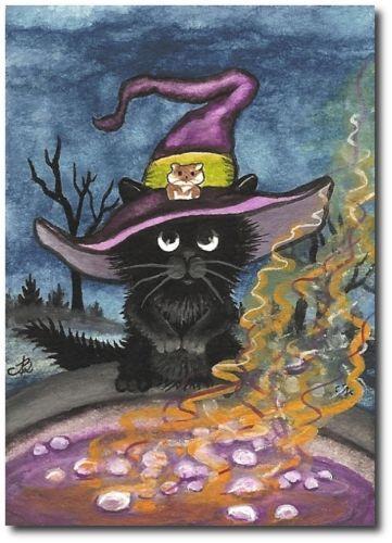 Black Cat Hamster Autumn Witch Hat Cauldron Potion - ArT BiHrLe LE Print ACEO | eBay