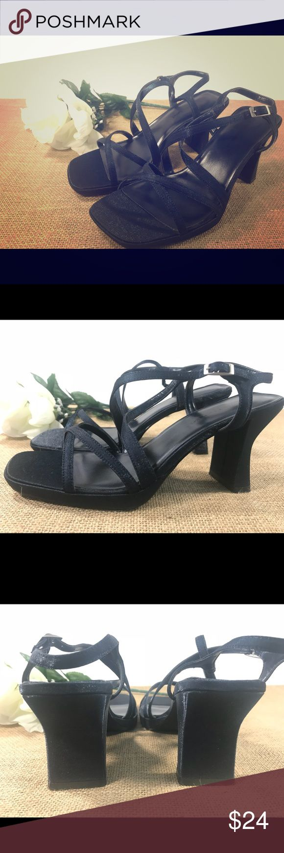 "Womens 6.5 Navy Strappy Heels by ""Unlisted"" These are in great condition!  Dark navy blue heel, Women's size 6.5 Unlisted Shoes Heels"