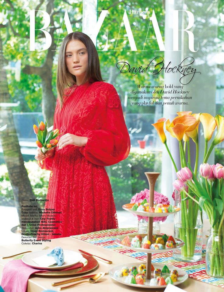 as fashion editor, styled for Harper's Bazaar Wedding Ideas (Art Inspiration: David Hockney)