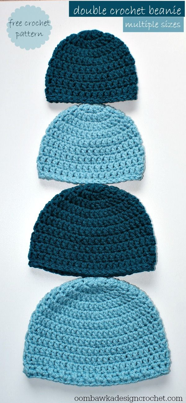 Simple Double Crochet Hat (all sizes) Free Crochet Pattern - Oombawka Design
