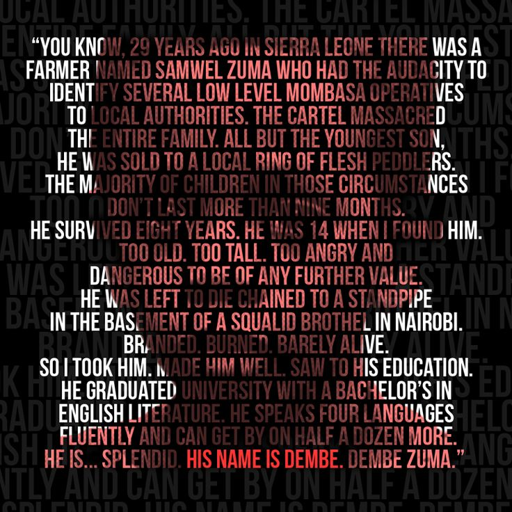 'The Blacklist' on NBC - wonderful story/quote by Reddington, wonderfully played by James Spader.