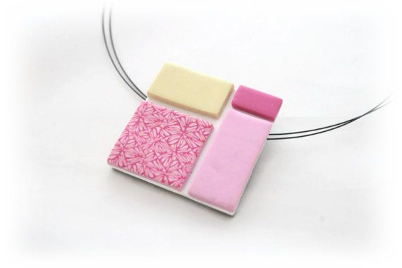 Pink White Square Pendant Polymer Clay Necklace by Lottieoflondon