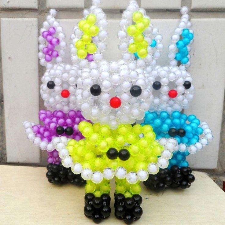 3D beading Rabbit Crochet Beaded weaving Animal Beadwork for kids Car/home decor