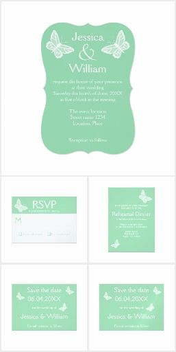 Mint Green And White Butterfly Wedding Set #wedding #butterfly #mintgreen