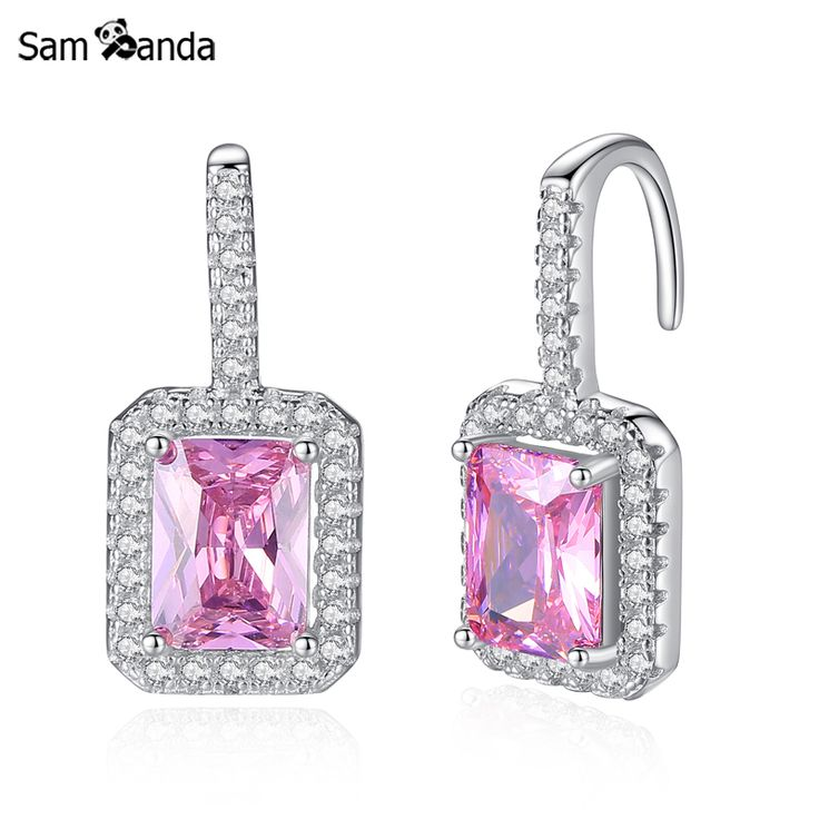 100% 925 Sterling Silver Vintage Pink Crystal Earring Fashion Powder Earrings Set Women Big Wedding Love Jewelry Brincos