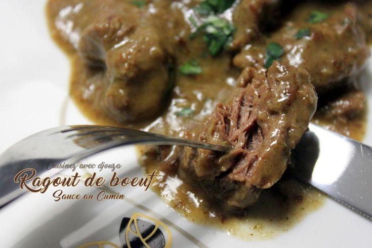 Ragoût de bœuf mijoté dans une sauce au cumin. Un plat préparé avec du filet de bœuf bien tendre. Recette différente de la Kamounia tunisienne, à base