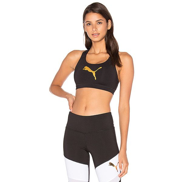 Puma PWRSHAPE Forever Sports Bra ($29) ❤ liked on Polyvore featuring activewear, sports bras, metallic sports bra, puma sportswear, red sports bra, puma sports bra and puma activewear