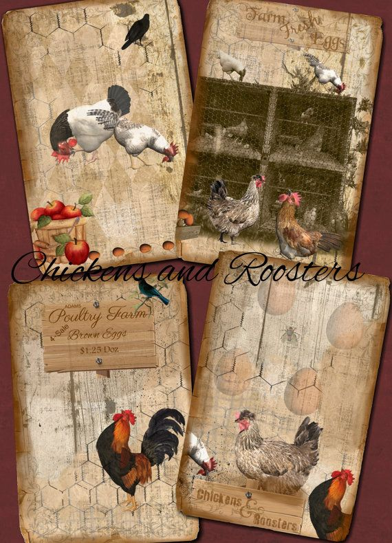 Chickens and Roosters  3x5  Printable  by CountryAtHeart2008
