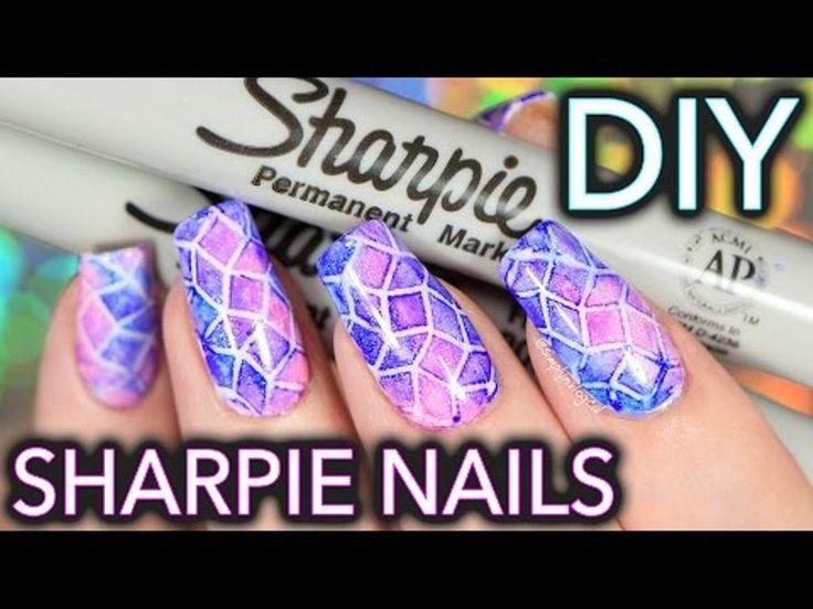 #Sharpie Watercolour Nail Art? #nailart #DIY #unghie #beauty
